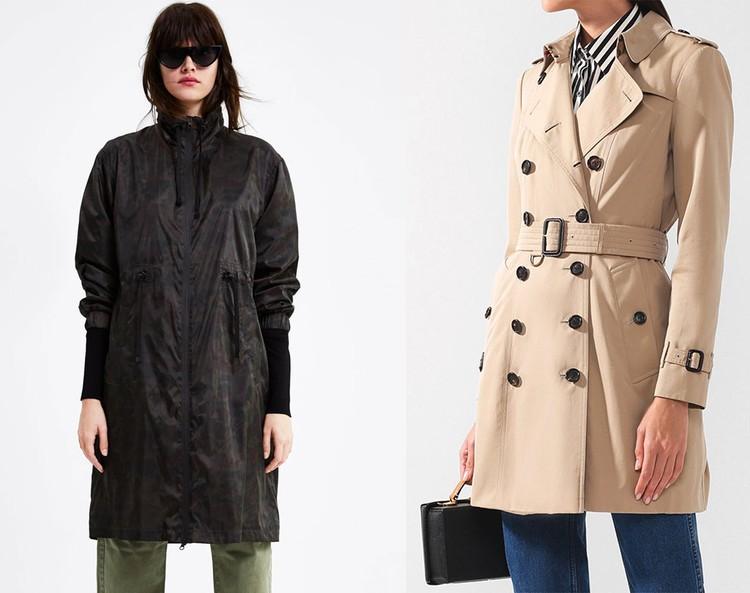 Парка с камуфляжным принтом Zara и двубортный тренч с поясом BURBERRY.