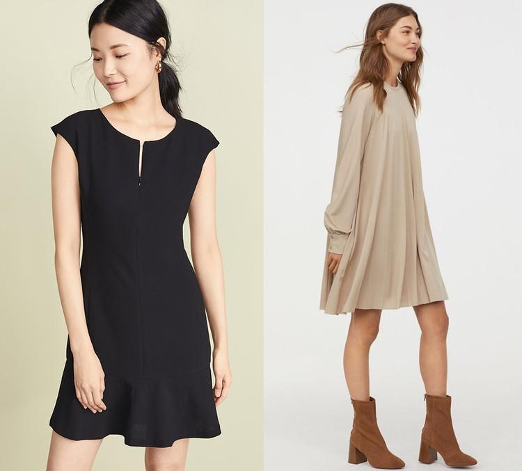 Черное платье Club Monaco и бежевое платье H&M.
