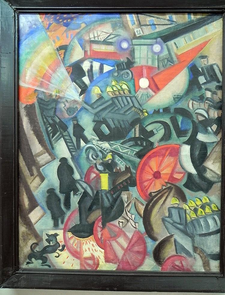 Картина Ольги Розановой Пожар в городе, 1914, найденная Андреем Сарабьяновым в Краеведческом музее города Ельца