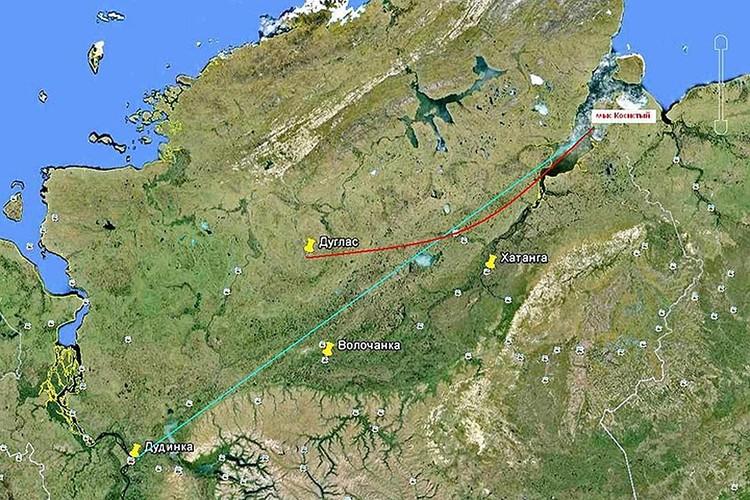 Карта перелета самолета Douglas C-47