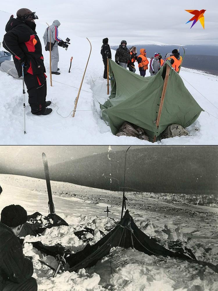 Участники экспедиции установили палатку на месте, где расположились дятловцы почти 60 лет назад.
