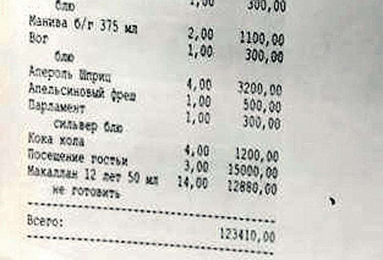 Перед первой дракой спортсмены неплохо «размялись» в стриптиз-клубе «Эгоист» на 123 тыс. руб. Фото: telegram.org