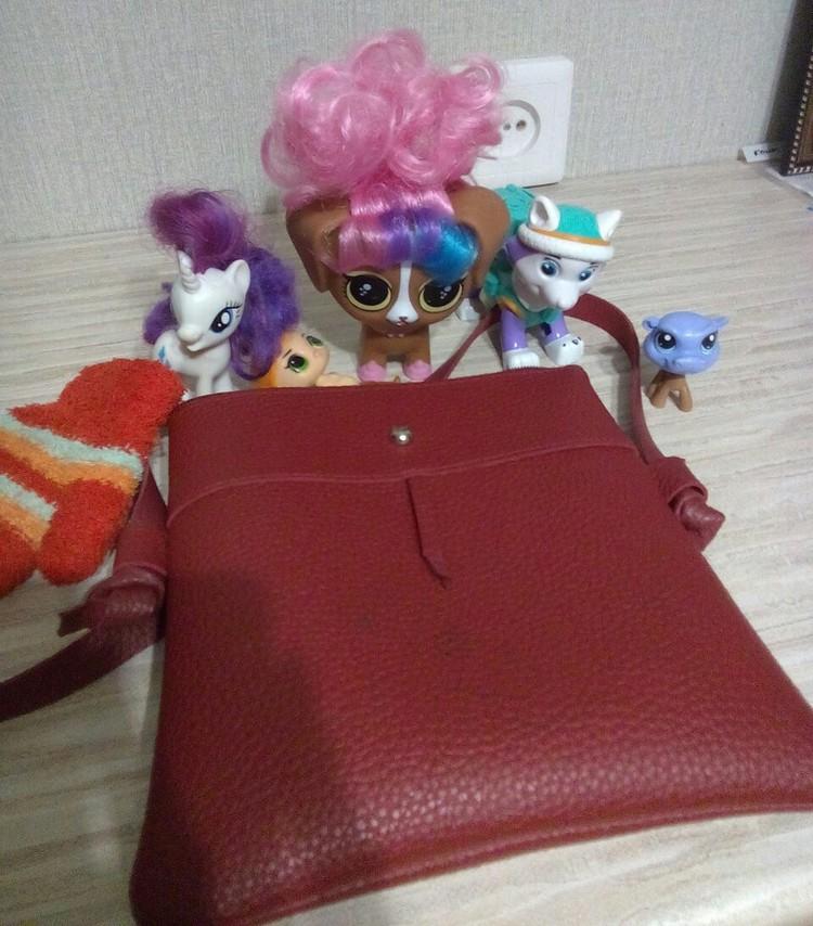 Вот эту сумочку с игрушками и варежкой девочка забыла в маршрутке. Фото: Нина Нагимова.