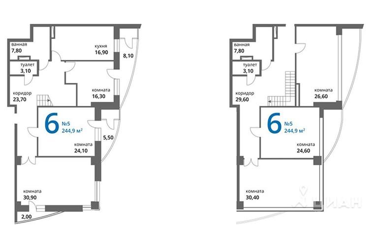 На втором месте на локальном рынке двухуровневая квартира площадью 253 квадрата. Фото с сайта ЦИАН