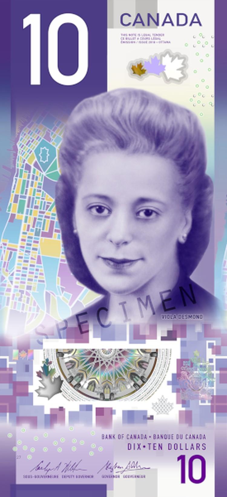 Канадские 10 долларов с портретом Виолы Десмонд