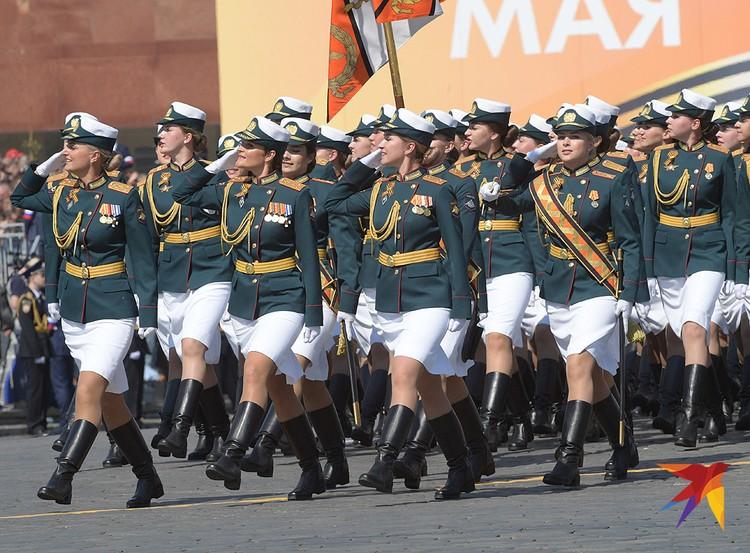 Сводный парадный расчет женщин-военнослужащих Министерства обороны РФ.