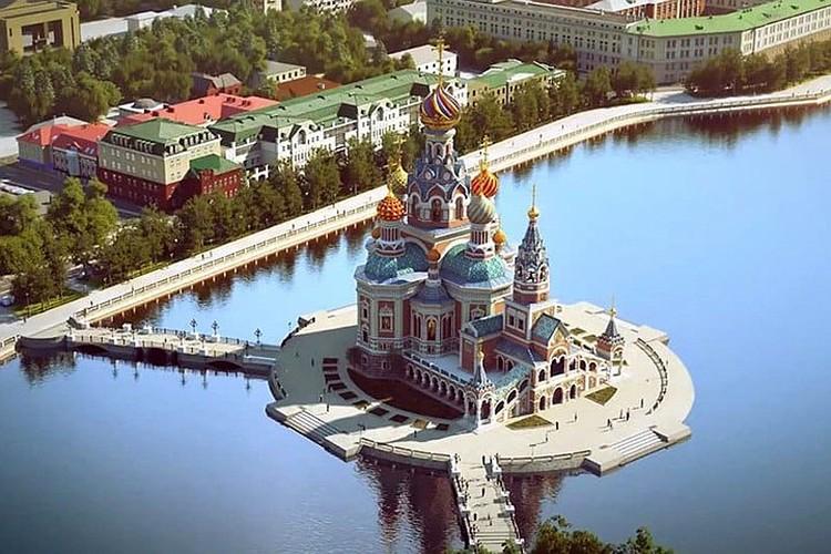 А вот так выглядел предыдущий проект храма св. Екатерины. Он тоже был закрыт из-за протестующих
