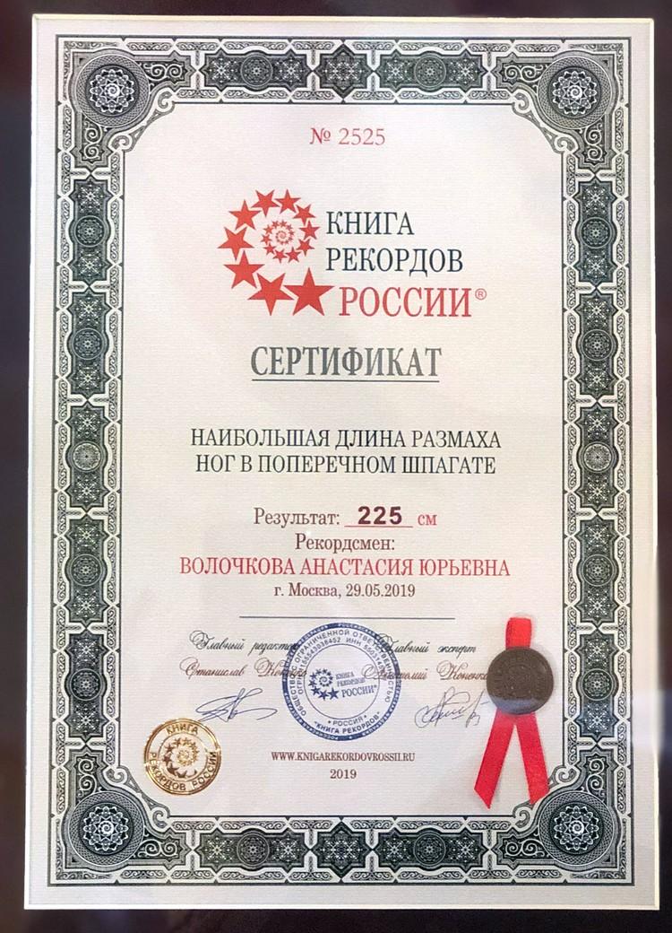 Сертификат, выданный Анастасии Волочковой.
