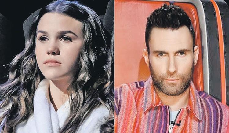 За Рейган (слева) топил сам Адам Левин из Maroon 5, но и это ей не помогло. Фото: youtube.com
