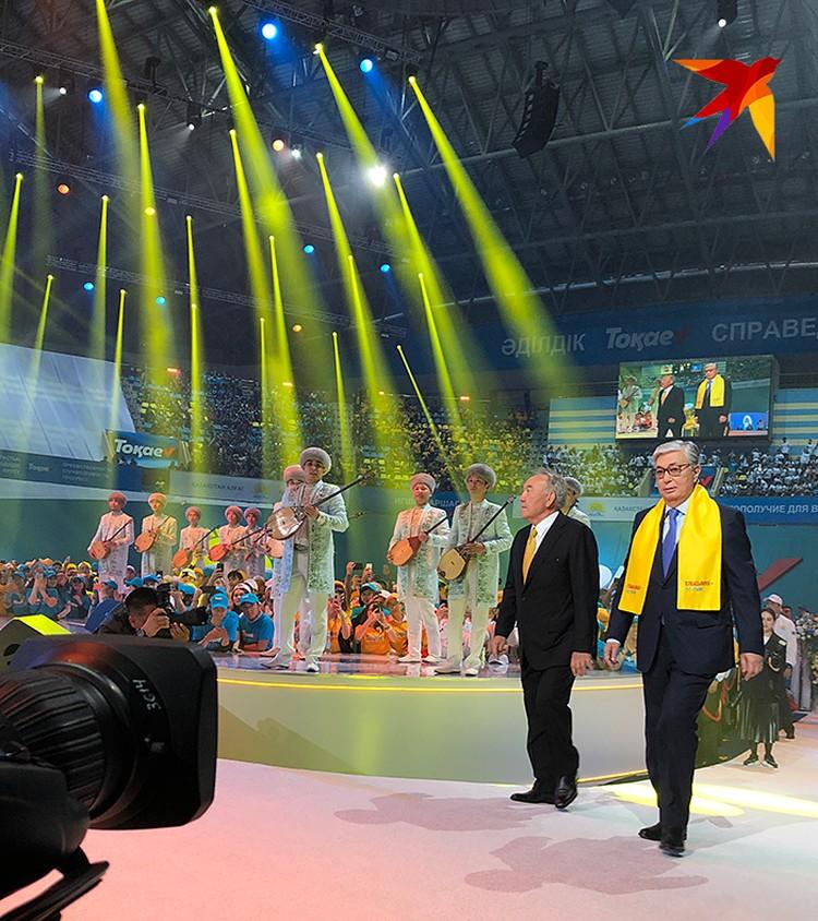 Елбасы Нурсултан Назарбаев и президент-кандидат в президенты Токаев вышли к собравшимся вместе, и в этом очень глубокий символизм