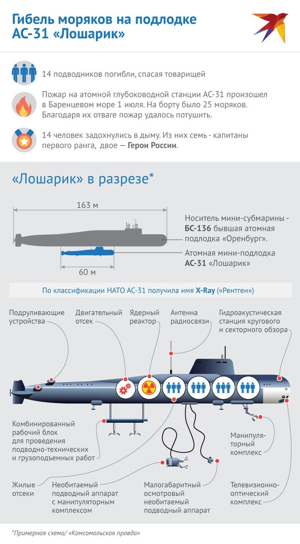 Примерная схема, как устроен глубоководный аппарат АС-31 «Лошарик», на котором во время пожара погибли 14 моряков Фото: Наиль ВАЛИУЛИН