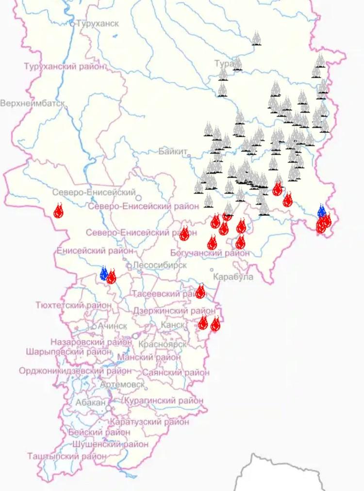 Действующие и локализованные пожары в Красноярском крае на 29.07.2019