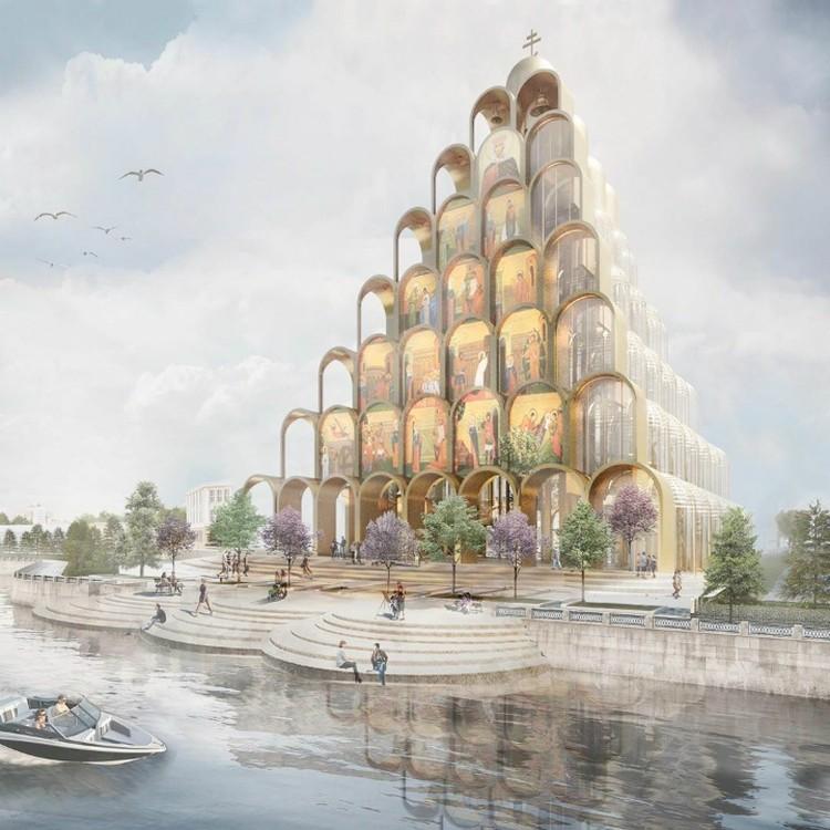 Архитекторы посчитали, что в здании нужно использовать золотые купола, закомары, кокошники и апсиды Фото: проектная документация