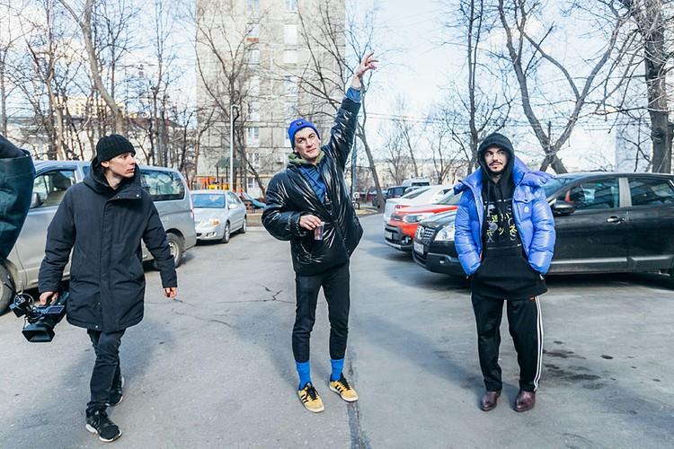 """Тимур Родригез и Александр Гудков на съемках клипа """"KANYE"""""""