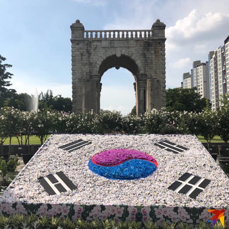 Флаг Кореи, выложенный из цветов