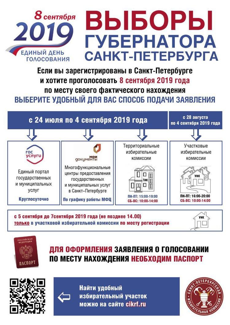 Выборы 8 сентября 2019 года в Санкт-Петербурге: избирательные участки для голосования.