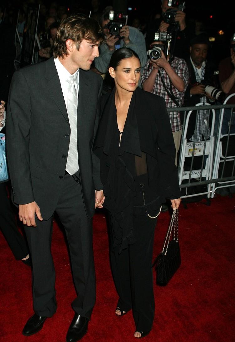 Деми и Эштон в 2004 году: тогда актриса была беременна.