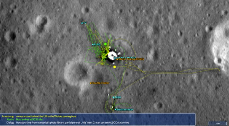 Следы Армстронга и Олдрина на Луне. Желтой и зеленой точкой отмечены они сами. На интерактивном снимке астронавты двигаются.