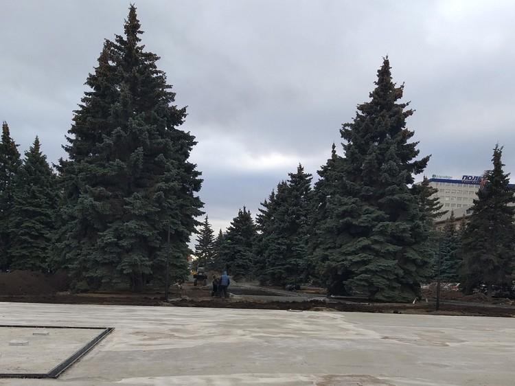 Ремонт сквера на ул. Тернопольской. Квадрат на переднем плане слева - сухой фонтан.