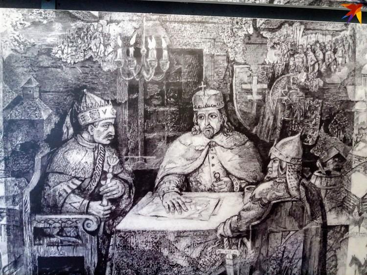 Ягайло, Витовт и Миколай Тромба разрабатывают стратегию войны против крестоносцев. Фото: гравюра Николая Гурщенкова, музей «Берестье»