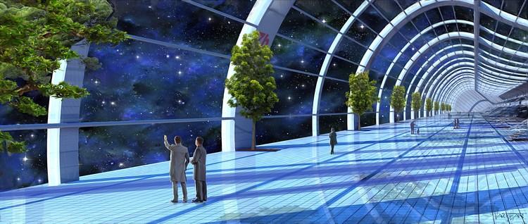 Бульвар в космическом городе. Фото: Джеймс Вон/Министерство информации и коммуникаций Асградии.