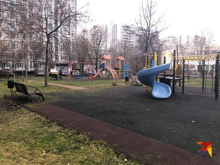 Детская площадка, где мама гуляла с детьми.