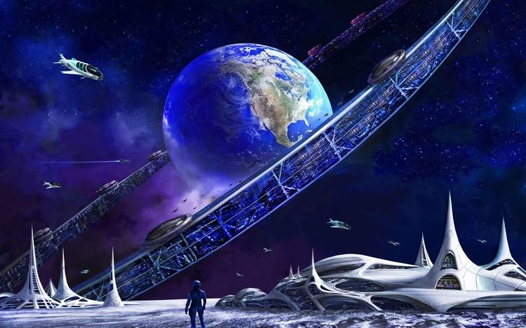 Вид Орбитального кольца с освоенной поверхности Луны. Рисунок: Артур Скижали-Вейс