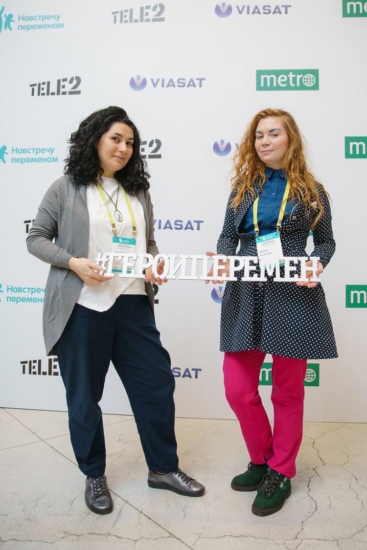 Фото: пресс-служба Tele2. Юлия Кулешова и Анжела Пиаже, Санкт-Петербург.