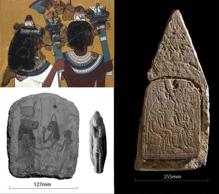 Изображения древних египтян с конусами на головах.