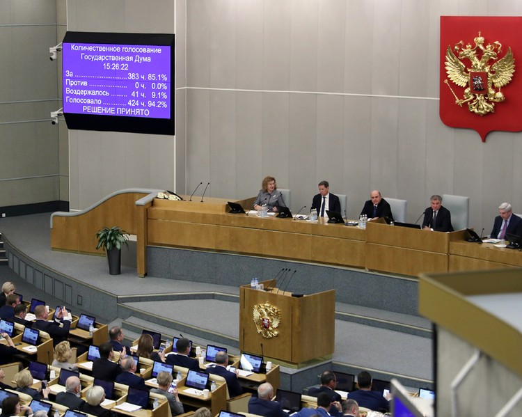 Результаты голосования в Госдуме.
