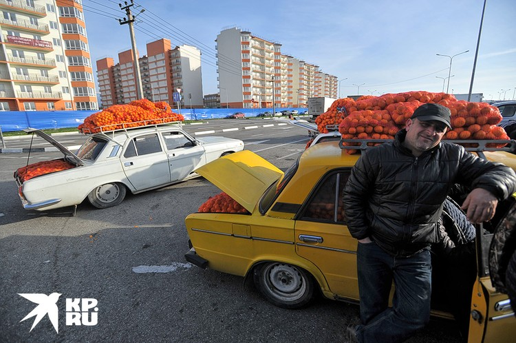Сочи. Адлер. Торговля абхазскими мандаринами у границы с Абхазией.