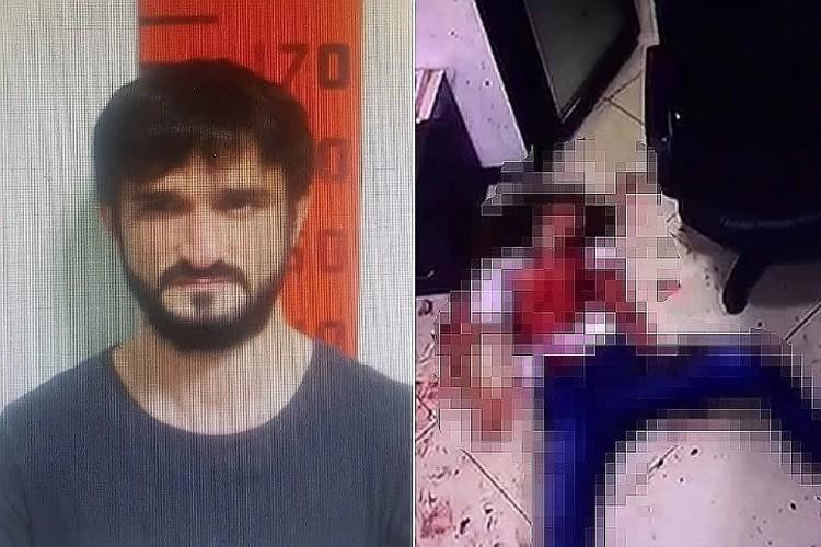 На фото: убийца и кадр с места ЧП