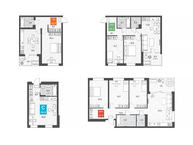 Студия с двумя окнами легко позволяет разделить пространство на кухонную и спальную зоны.