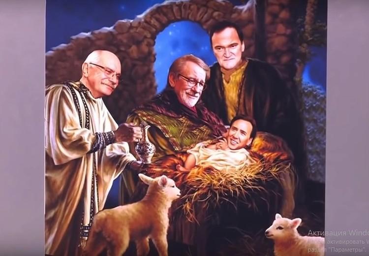 А вот этот коллаж и стал поводом для оскорбления верующих. Его показали в Рождество, 7 января. Фото: скриншот с видео