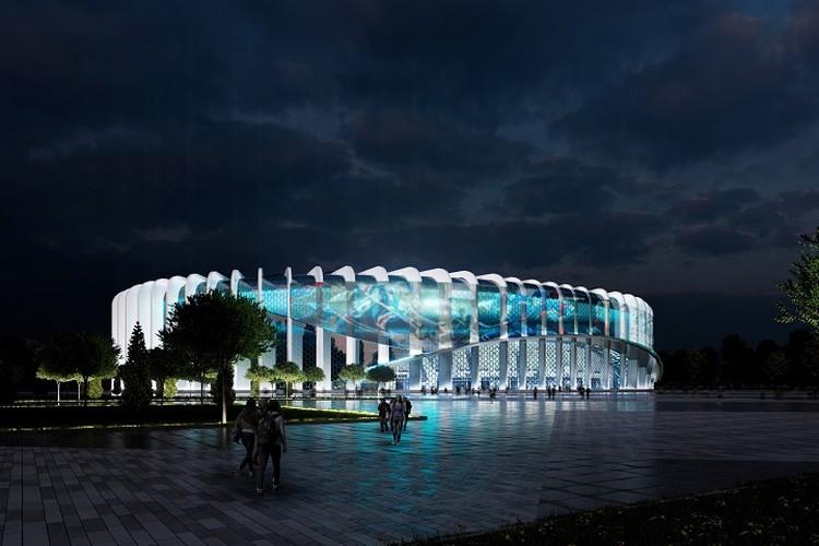 Новая арена будет иметь большой мультимедийный экран и светиться в ночи. Фото: «ГорКапСтрой»