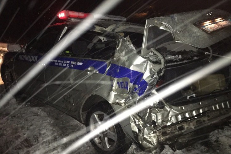 Машину ГАИ протаранила «Газель» из Донецка. Фото: vk.com/id331209086