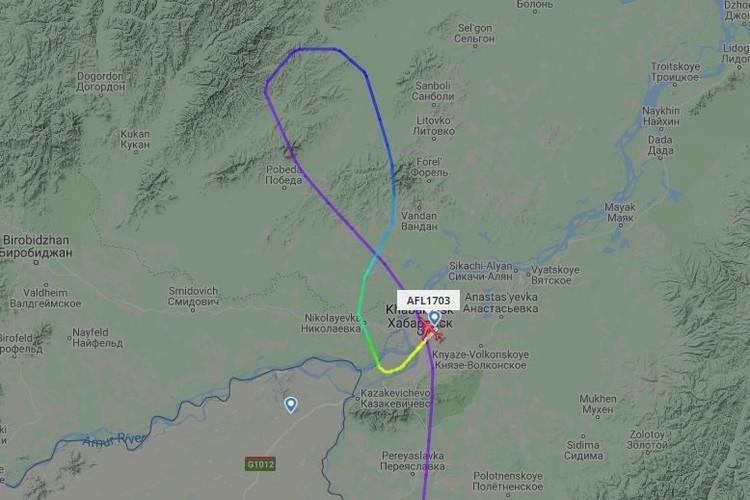 Самолет сделал крюк и приземлился в Хабаровске. Фото: flightradar