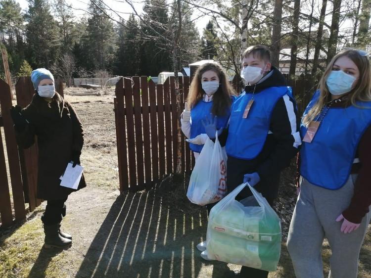 Добровольцы обходят квартиры и дома строго в защитных масках. Фото предоставлено пресс-службой правительства Ленинградской области.