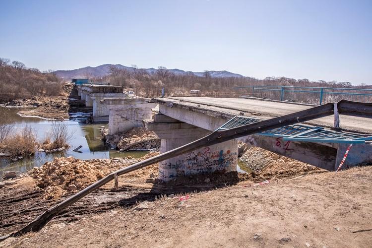 Разрушенный мост в Новолитовске