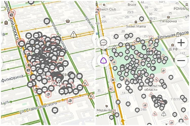 """Отметки пользователей на виртуальной карте. Фото: """"Яндекс-навигатор"""""""
