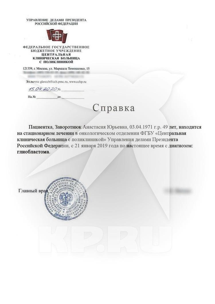 Актриса лечится в ЦКБ при Управлении делами Президента РФ.