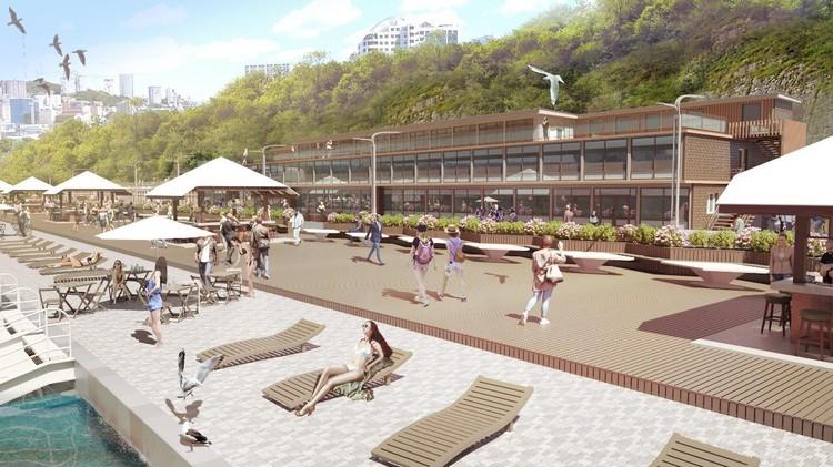 """Здесь появятся полноценные зоны для отдыха и пеших прогулок. Фото: дизайн-проект обновленного пляжа """"Юбилейный""""."""