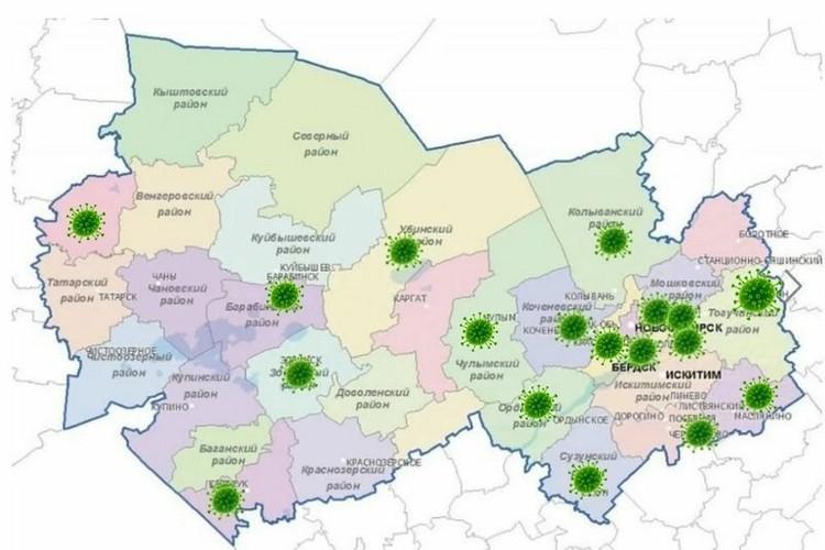 Карта распространения коронавируса в Новосибирской области на 5 мая