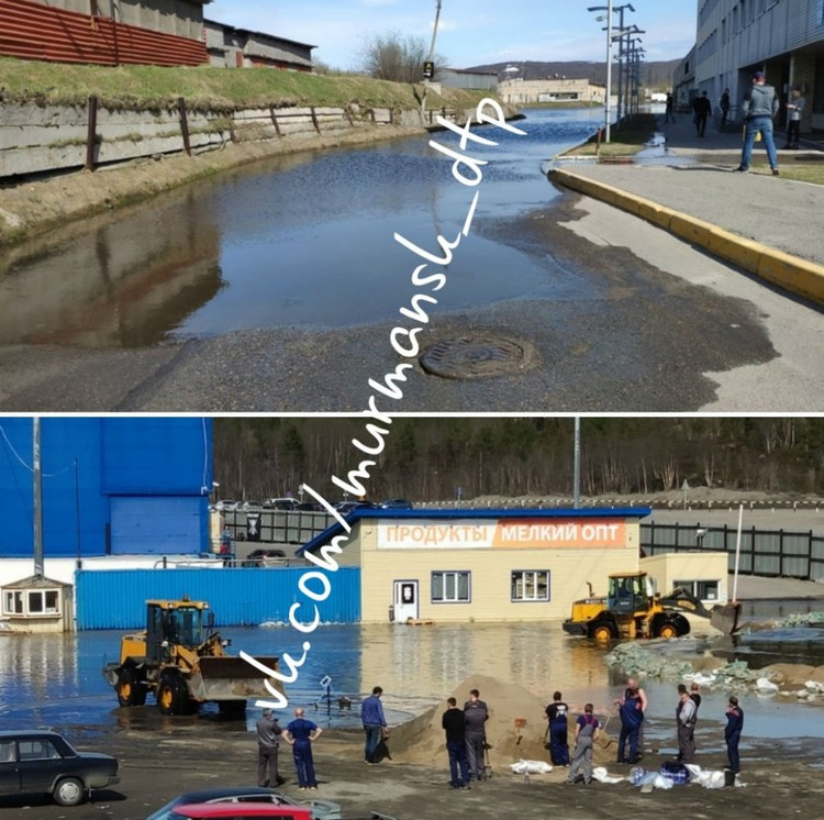 Воду сейчас пытаются откачать. Фото: vk.com/murmansk_dtp