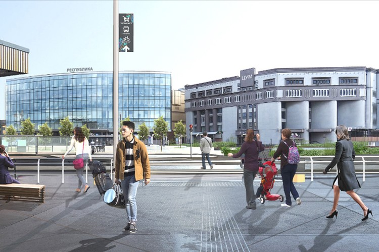 Пешеходный переход предлагается создать сразу при выходе из здания вокзала. Визуализация:MLA+