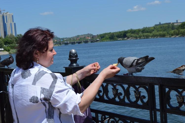 На Набережной ручные голуби. Дончане кормят их с рук