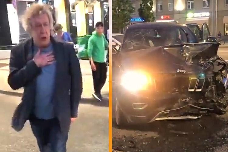 Актер Михаил Ефремов и его разбитый джип