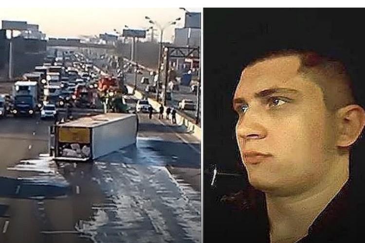 Внук экс-губернатора Хабаровского края Виктора Ишаева Игорь (на фото справа) и авария, которую он спровоцировал (на фото слева)