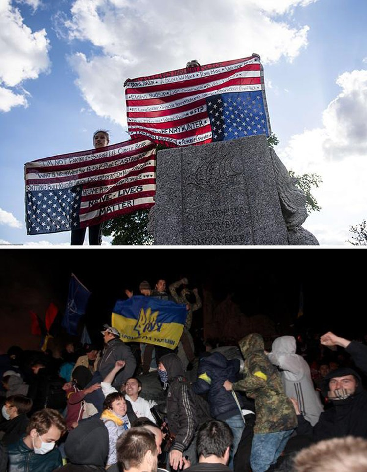 Протестуюшие с национальными флагами на постаменте снесенного памятника Христофору Колумбу и протестующие на остатках памятника Ленину в Харькове. Фото: East News и РИА Новости