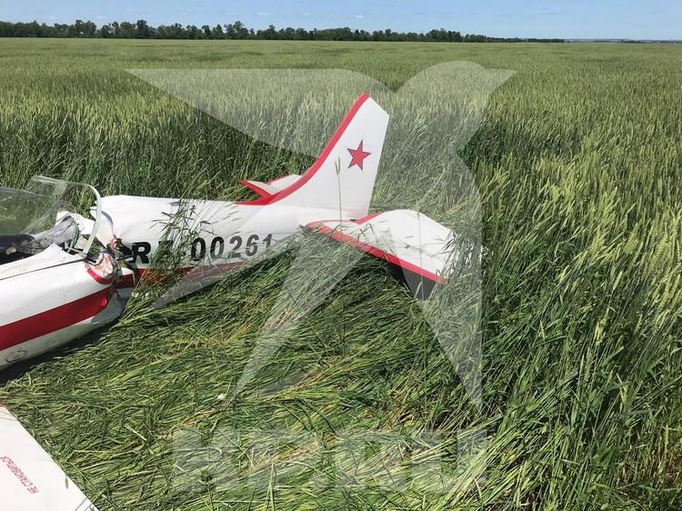 Самолет приземлился в поле, не задев никаких строений